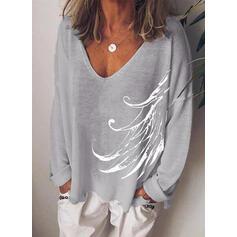 Print V-hals Lange Mouwen T-shirts