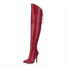 Frauen Kunstleder Stöckel Absatz Absatzschuhe Geschlossene Zehe Stiefel Stiefel über Knie mit Zuschnüren Schuhe