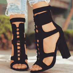 De mujer Ante Tacón ancho Sandalias Encaje con Cordones zapatos