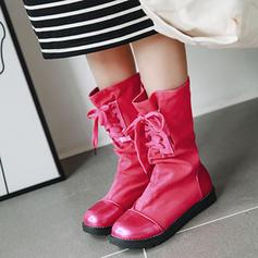 Frauen Kunstleder Flascher Absatz Flache Schuhe Stiefel Stiefel-Wadenlang mit Zuschnüren Schuhe