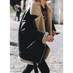 Suede Long Sleeves Plain Slim Fit Coats