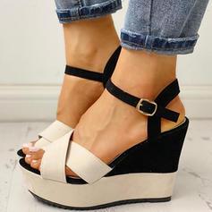 De mujer PU Tipo de tacón Sandalias Encaje con Hebilla zapatos