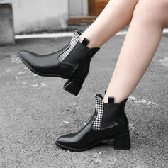 Women's Leatherette Cone Heel Boots With Split Joint shoes