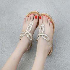 Femmes Similicuir Talon plat Sandales Compensée À bout ouvert avec Cristal Perle d'imitation chaussures