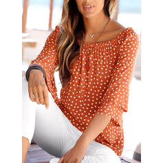 Print Off the Shoulder Lange Mouwen Casual Blouses