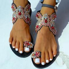 Mulheres PU Sem salto Sandálias com Fivela sapatos