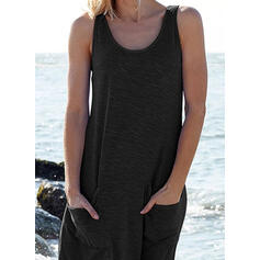 Solid Sleeveless Shift Knee Length Little Black/Casual/Vacation Dresses
