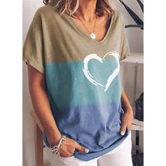 Print Heart V-Neck Short Sleeves Casual T-shirts