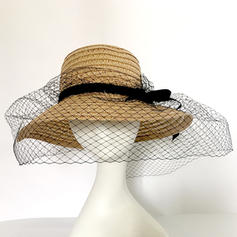 Ladies' Beautiful Organza/Rattan Straw With Bowknot Bowler/Cloche Hats/Straw Hats/Tea Party Hats