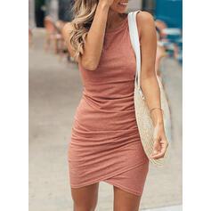 Sólido Sem mangas Bodycon Assimétrico Casual Vestidos
