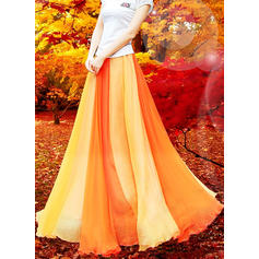 Chiffon Color Block Maxi A-Line Skirts Skirts