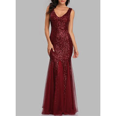 Sequins Long Sleeves Sheath Maxi Party Dresses