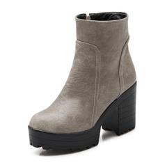 Femmes Similicuir Talon bottier Escarpins Plateforme Bout fermé Bottes Bottines Bottes mi-mollets avec Zip chaussures