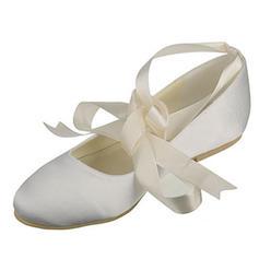 Femmes Soie comme du satin Talon plat Bout fermé Chaussures plates avec Bowknot