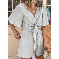 Solid V-Neck Short Sleeves Casual Elegant Romper
