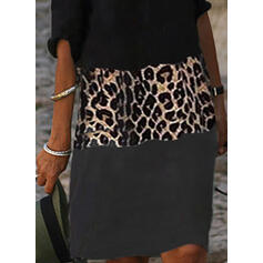 Barevný blok/leopard 1/2 rukávy Splývavé Délka ke kolenům Neformální Tunika Rochii