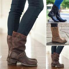 Frauen PU Stämmiger Absatz Stiefel mit Schnalle Schuhe
