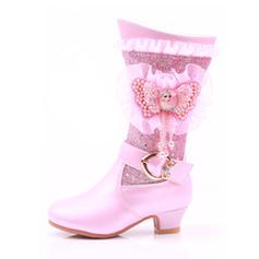 Dziewczyny Round Toe Zakryte Palce Połowy łydki buty Skóra ekologiczna Niski Obcas Kozaki Buty Flower Girl Z Klamra Koronka Perła