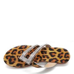 Vrouwen Kunstleer Flat Heel Sandalen Flip Flops Slippers met Strass schoenen