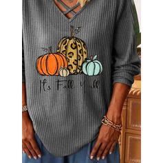 Print Leopard V-Neck Long Sleeves Casual Halloween Blouses