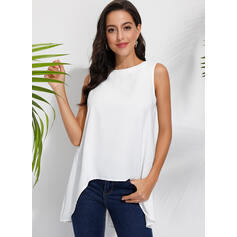 Solide Ronde Hals Mouwloos Casual Tanks