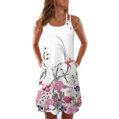 Print/Floral Sleeveless Shift Above Knee Casual/Vacation Slip Dresses
