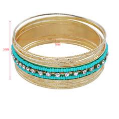 Beautiful Fashionable Exotic Rhinestones Iron Women's Bracelets (Set of 9)