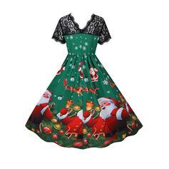 Κοντά Μανίκια Φαρδύ Κάτω Μήκος Γόνατος Χριστούγεννα/Πάρτι Фігурист Сукні