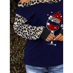 Sequins Leopard One-Shoulder Long Sleeves Casual Christmas Blouses