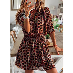 Print 3/4 Sleeves A-line Above Knee Casual/Elegant Dresses