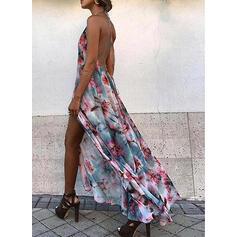 Imprimée/Fleurie/Dos nu Sans Manches Trapèze Patineuse Sexy/Vacances Maxi Robes
