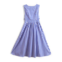 Striped V-neck Knee Length A-line Dress