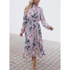 Print/Floral Long Sleeves A-line Casual/Boho/Vacation Midi Dresses