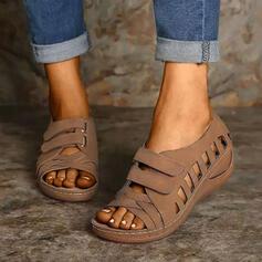 Сандалі взуття на короткій шпильці з В'язаний одяг Суцільний колір взуття