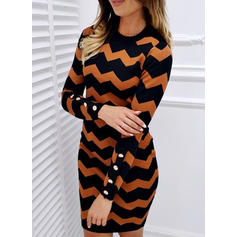 Striped Long Sleeves Bodycon Above Knee Casual/Elegant Dresses