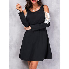 Print Lace Long Sleeves Cold Shoulder Sleeve Shift Knee Length Casual Tunic Dresses