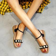 Femmes Suède Talon plat Sandales Chaussures plates avec Perle d'imitation chaussures