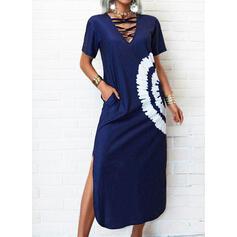Tie Dye Short Sleeves Shift Casual Maxi Dresses