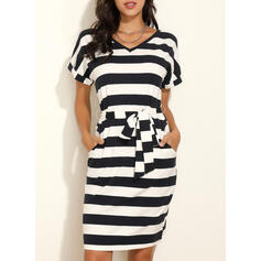 Print/Striped Short Sleeves Bodycon Knee Length Casual Pencil Dresses