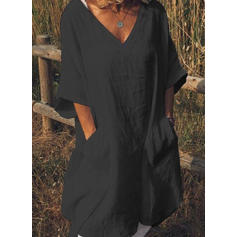 Solid 1/2 Sleeves Shift Knee Length Little Black/Casual/Vacation Dresses