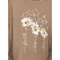 Floral Impresión Carta Animal Cuello Redondo Manga Larga Camisetas