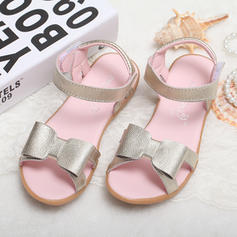 Girl's Real Leather Flat Heel Peep Toe Sandals Flats Flower Girl Shoes With Bowknot