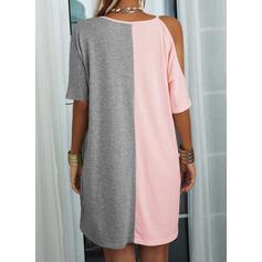 Impresión/Trozos de color Mangas 1/2 Vestidos sueltos Sobre la Rodilla Casual Túnica Vestidos