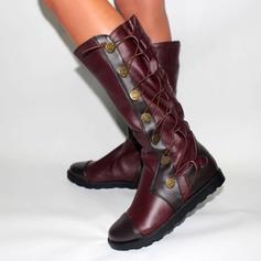 Frauen Kunstleder Flascher Absatz Flache Schuhe Stiefel Kniehocher Stiefel mit Zuschnüren Schuhe