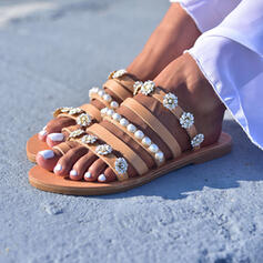 Kvinder PU Flad Hæl sandaler Fladsko med Imiteret Pearl Blomst sko