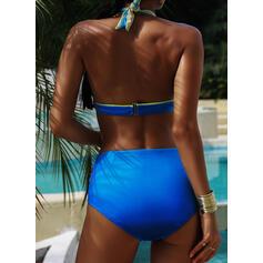 Print solmittu riimu Plus-koko värikäs Bikinit Uima-Asut