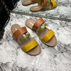 Women's Leatherette Flat Heel Sandals Slippers With Solid Color Splice Color shoes