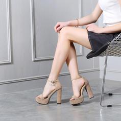 Frauen Veloursleder Stämmiger Absatz Sandalen Absatzschuhe Plateauschuh mit Schnalle Schuhe