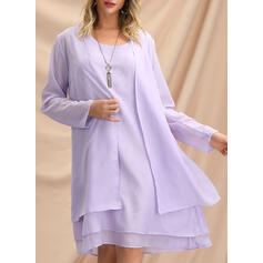Solid Long Sleeves Shift Knee Length Elegant Dresses