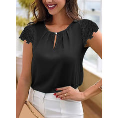 Solid Round Neck Cap Sleeve Casual Elegant Blouses